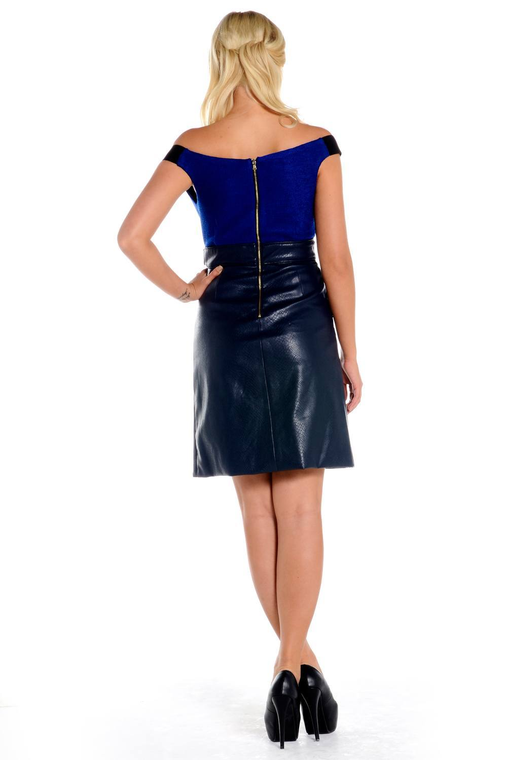 Three floor blue and black leather midi dress jessy for Three floor yellow dress