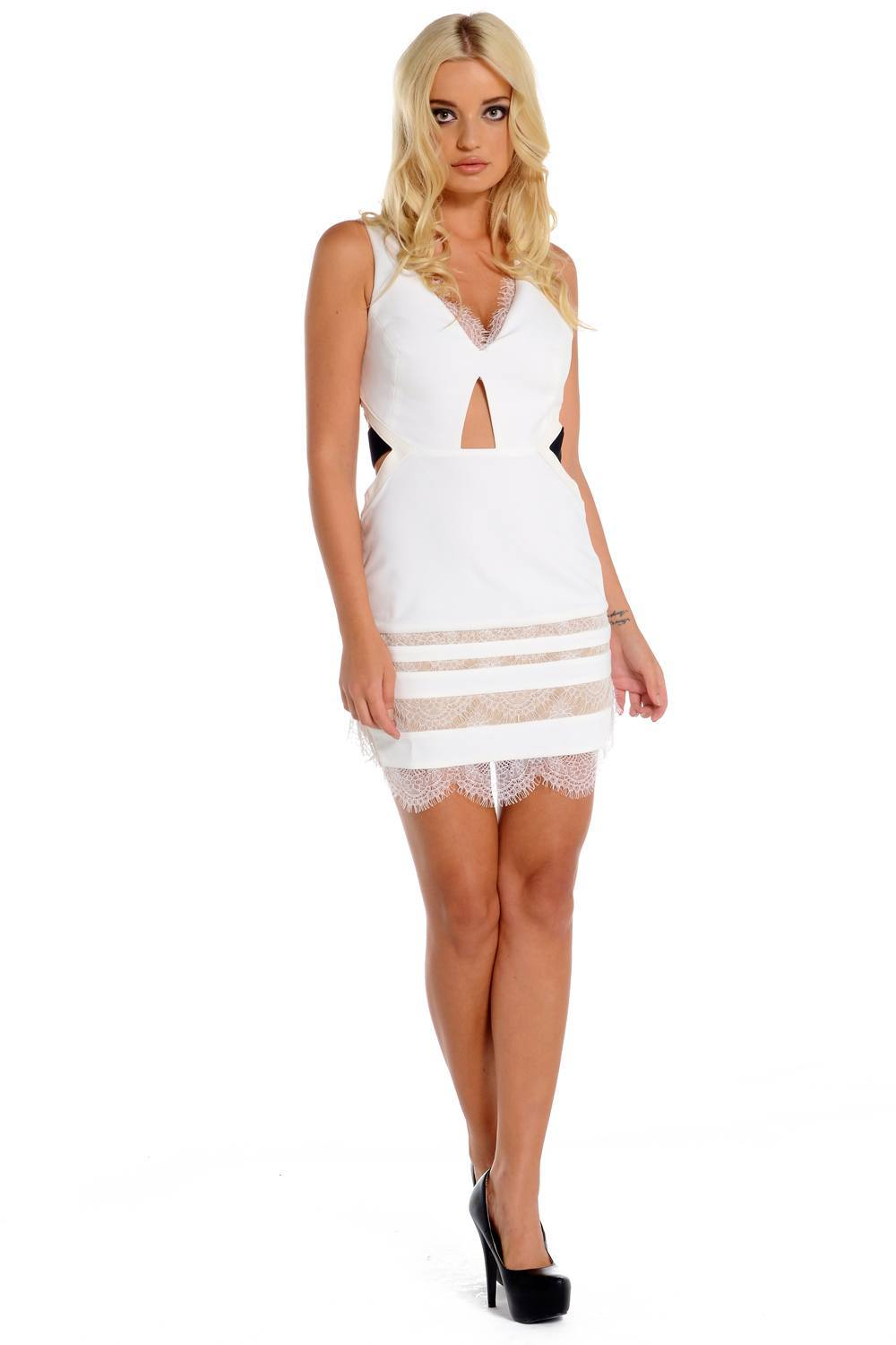 White lace three floor dress maisie for Three floor yellow dress