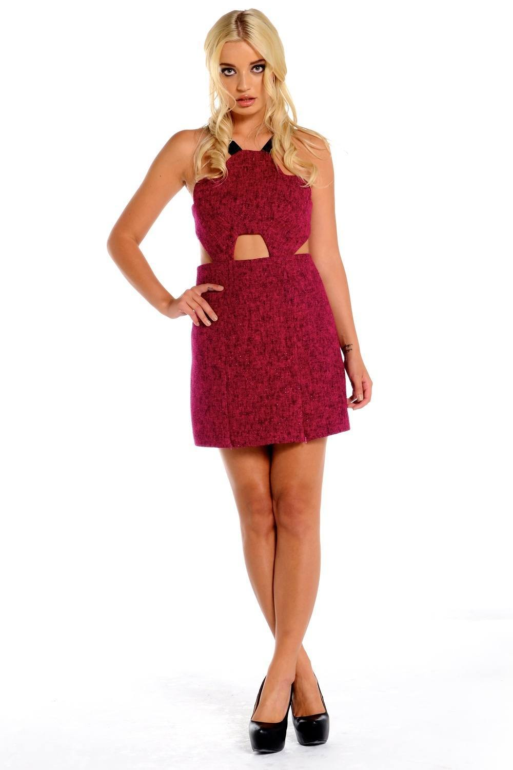 Red mini cut out dress mollie for Three floor yellow dress